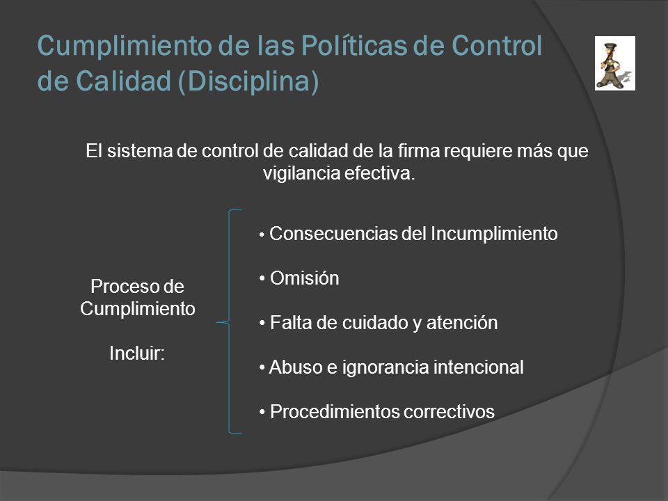 Cumplimiento de las Políticas de Control de Calidad (Disciplina) Proceso de Cumplimiento Incluir: Consecuencias del Incumplimiento Omisión Falta de cu