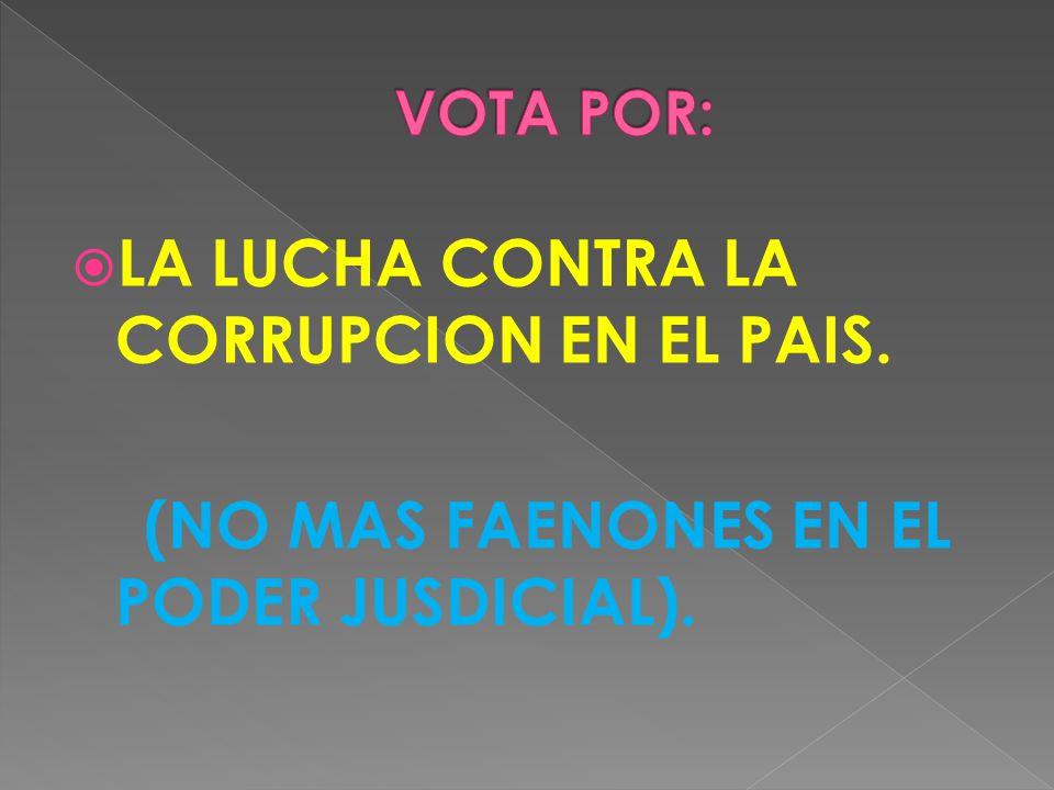 LA LUCHA CONTRA LA CORRUPCION EN EL PAIS. (NO MAS FAENONES EN EL PODER JUSDICIAL).