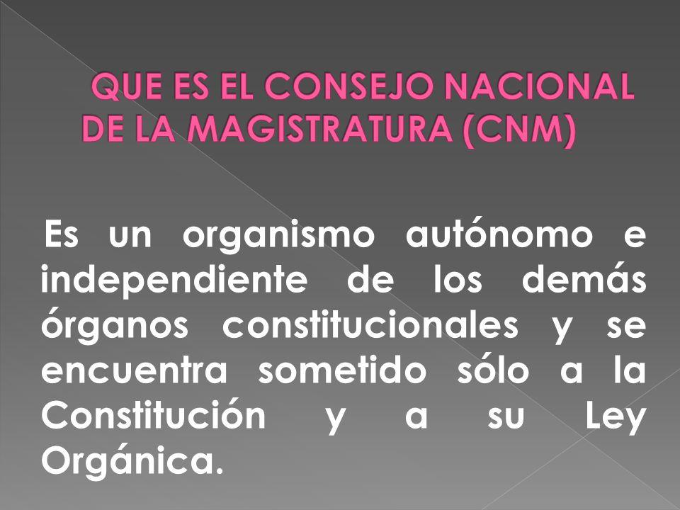 Es un organismo autónomo e independiente de los demás órganos constitucionales y se encuentra sometido sólo a la Constitución y a su Ley Orgánica.