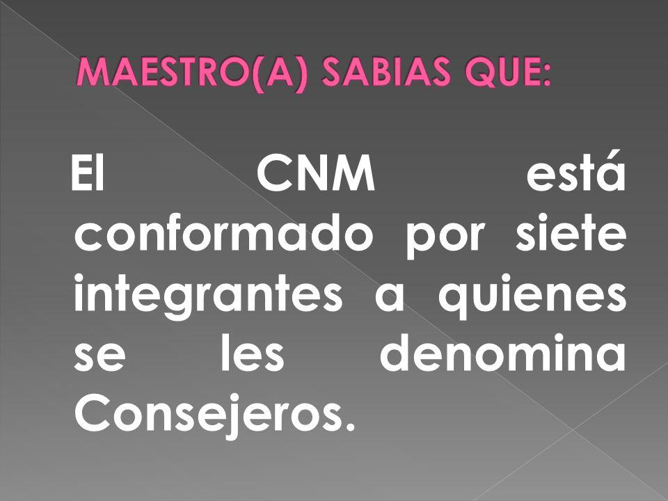 El CNM está conformado por siete integrantes a quienes se les denomina Consejeros.