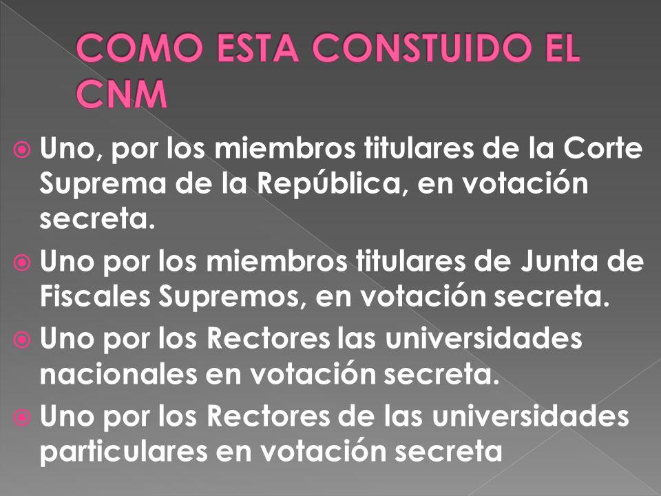 Uno, por los miembros titulares de la Corte Suprema de la República, en votación secreta.