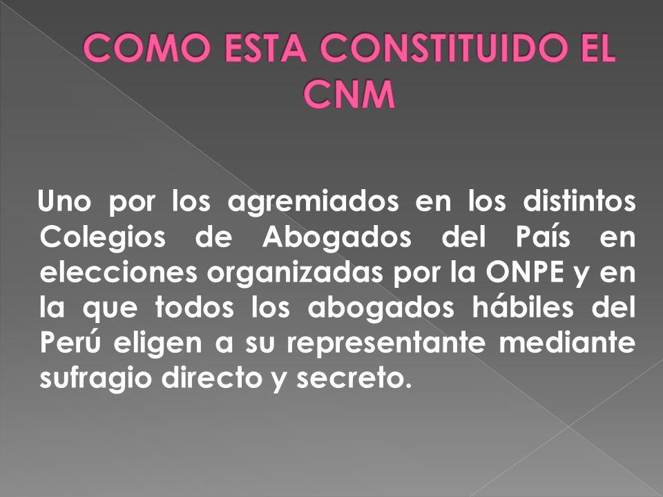 Uno por los agremiados en los distintos Colegios de Abogados del País en elecciones organizadas por la ONPE y en la que todos los abogados hábiles del Perú eligen a su representante mediante sufragio directo y secreto.