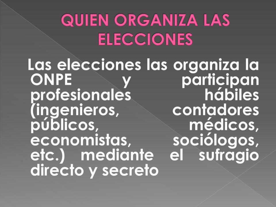 Las elecciones las organiza la ONPE y participan profesionales hábiles (ingenieros, contadores públicos, médicos, economistas, sociólogos, etc.) mediante el sufragio directo y secreto