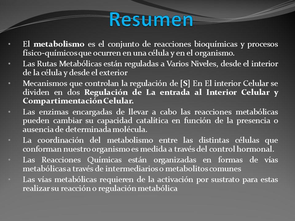El metabolismo es el conjunto de reacciones bioquímicas y procesos físico-químicos que ocurren en una célula y en el organismo. Las Rutas Metabólicas