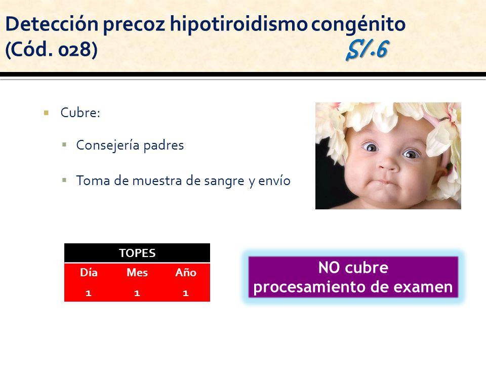 Cubre: Consejería padres Toma de muestra de sangre y envío NO cubre procesamiento de examen TOPES DíaMesAño 111