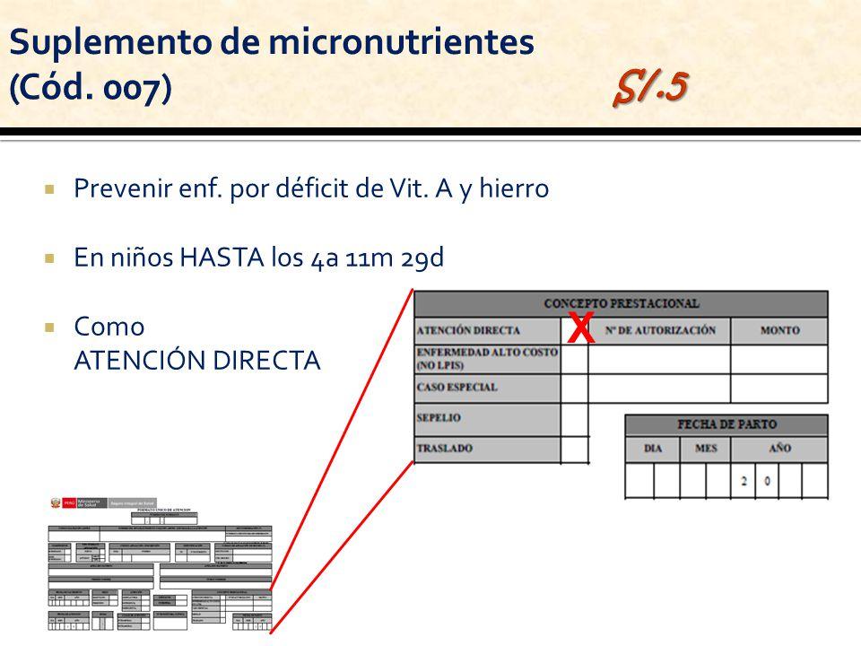 Prevenir enf. por déficit de Vit. A y hierro En niños HASTA los 4a 11m 29d Como ATENCIÓN DIRECTA X