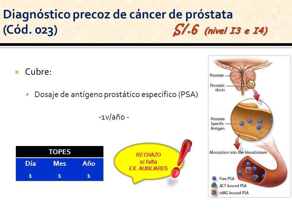 Cubre: Dosaje de antígeno prostático específico (PSA) -1v/año - RECHAZO si falta EX. AUXILIARES RECHAZO si falta EX. AUXILIARES TOPES DíaMesAño 111