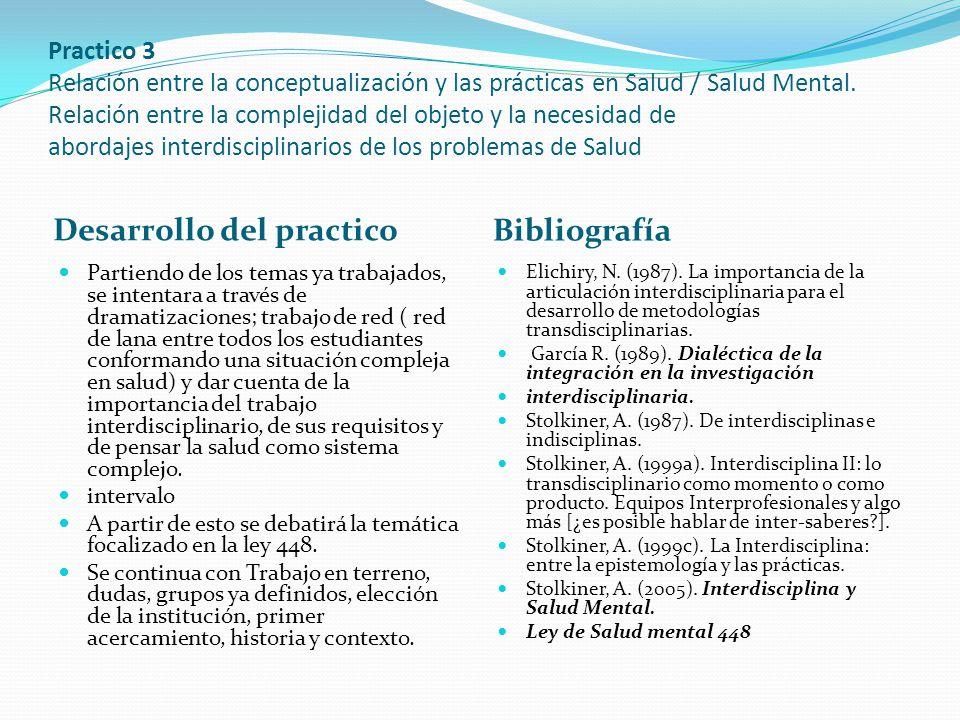 Practico 3 Relación entre la conceptualización y las prácticas en Salud / Salud Mental. Relación entre la complejidad del objeto y la necesidad de abo