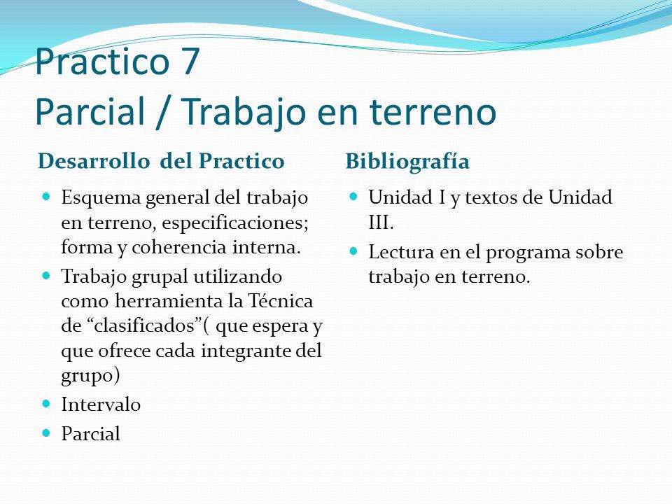 Practico 7 Parcial / Trabajo en terreno Desarrollo del Practico Bibliografía Esquema general del trabajo en terreno, especificaciones; forma y coheren