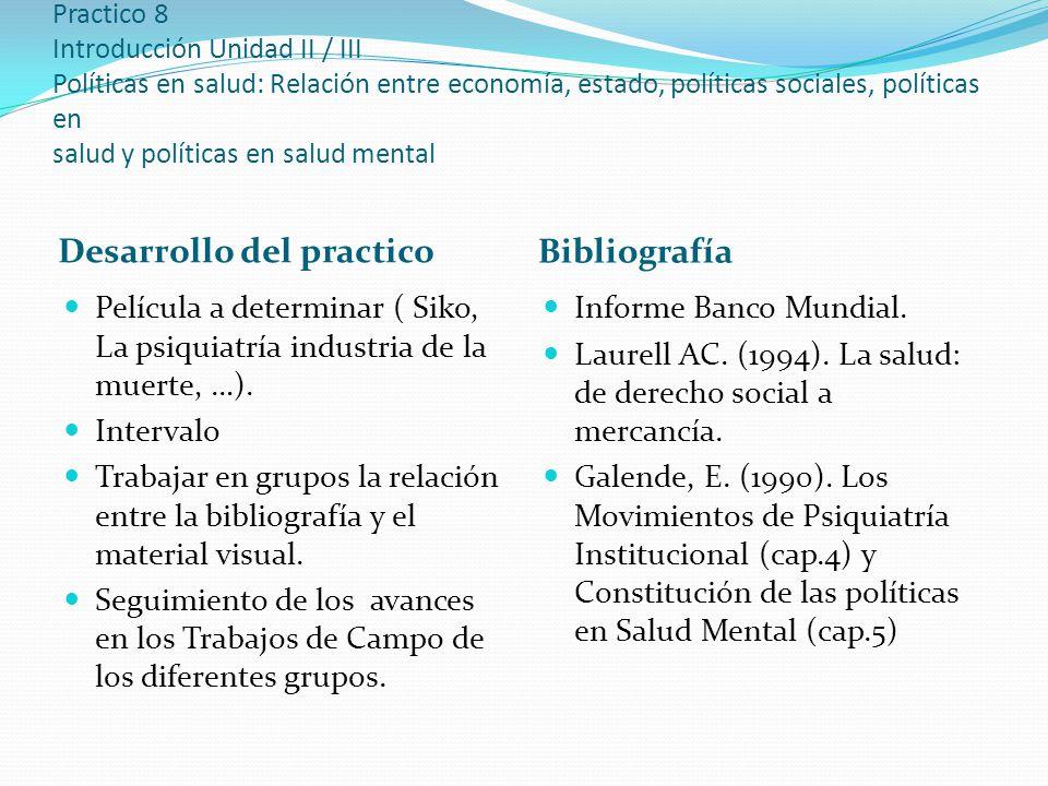 Practico 8 Introducción Unidad II / III Políticas en salud: Relación entre economía, estado, políticas sociales, políticas en salud y políticas en salud mental Desarrollo del practico Bibliografía Película a determinar ( Siko, La psiquiatría industria de la muerte, …).
