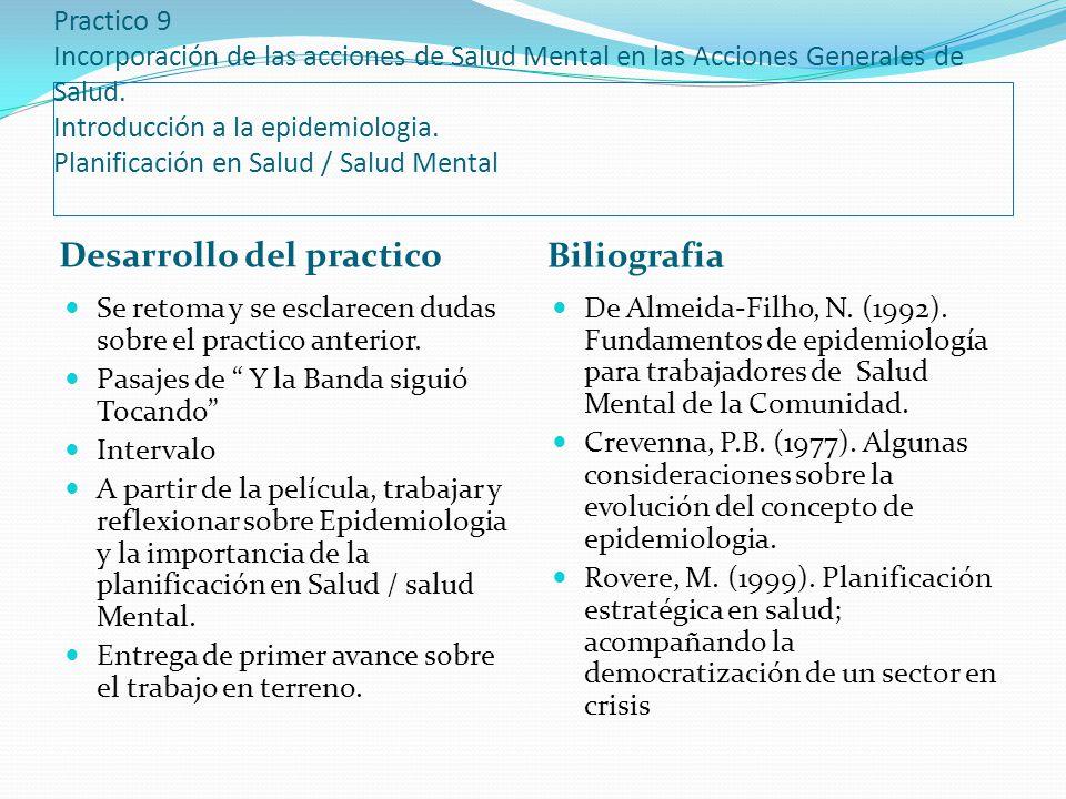 Practico 9 Incorporación de las acciones de Salud Mental en las Acciones Generales de Salud. Introducción a la epidemiologia. Planificación en Salud /