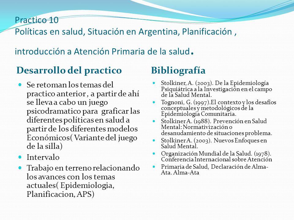 Practico 10 Políticas en salud, Situación en Argentina, Planificación, introducción a Atención Primaria de la salud. Desarrollo del practico Bibliogra