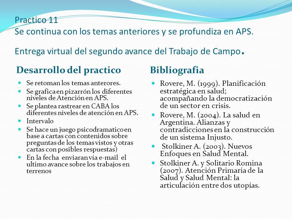 Practico 11 Se continua con los temas anteriores y se profundiza en APS. Entrega virtual del segundo avance del Trabajo de Campo. Desarrollo del pract