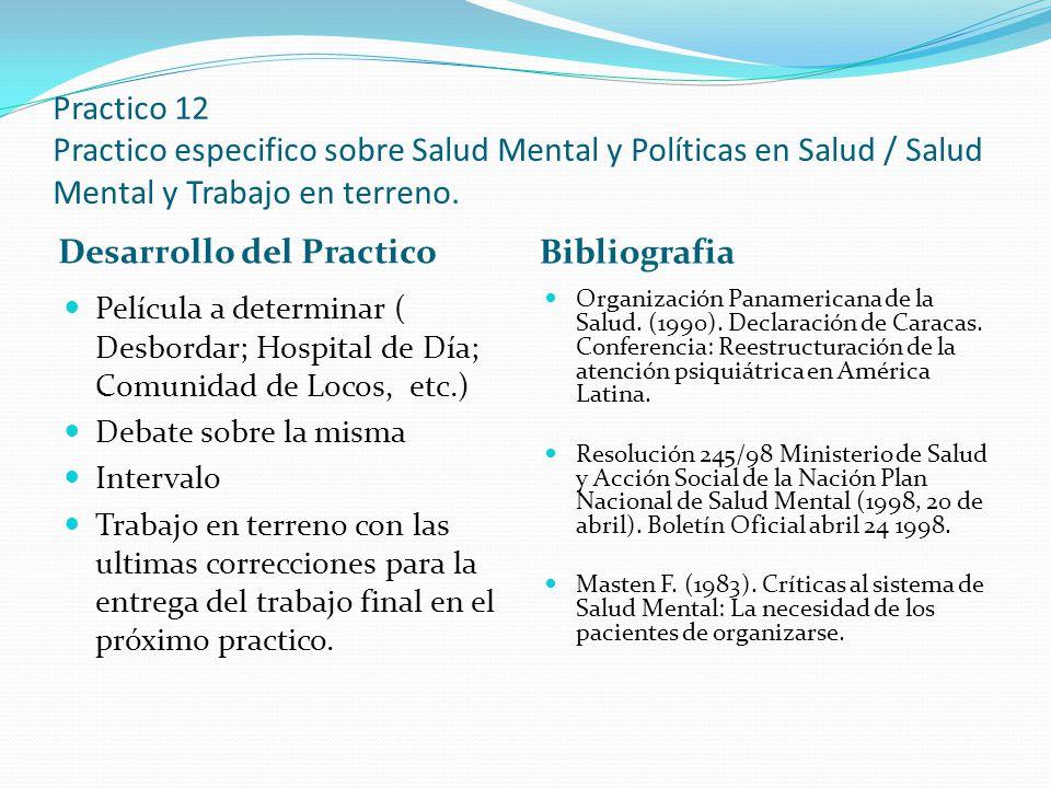 Practico 12 Practico especifico sobre Salud Mental y Políticas en Salud / Salud Mental y Trabajo en terreno. Desarrollo del Practico Bibliografia Pelí