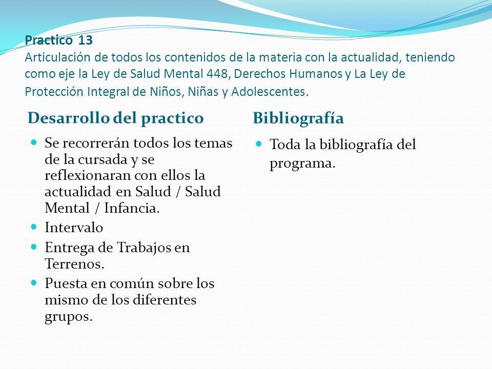 Practico 13 Articulación de todos los contenidos de la materia con la actualidad, teniendo como eje la Ley de Salud Mental 448, Derechos Humanos y La