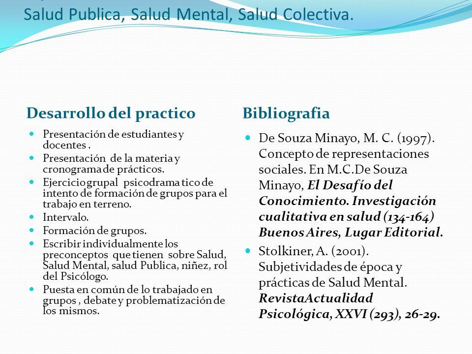 Practico N°1 Representaciones Sociales: Salud- Enfermedad-Atencion. Salud Publica, Salud Mental, Salud Colectiva. Desarrollo del practico Bibliografia