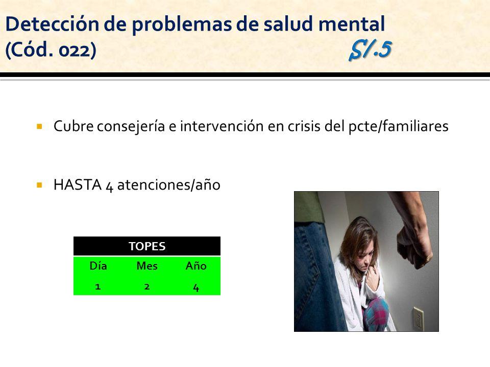 Cubre consejería e intervención en crisis del pcte/familiares HASTA 4 atenciones/año TOPES DíaMesAño 124