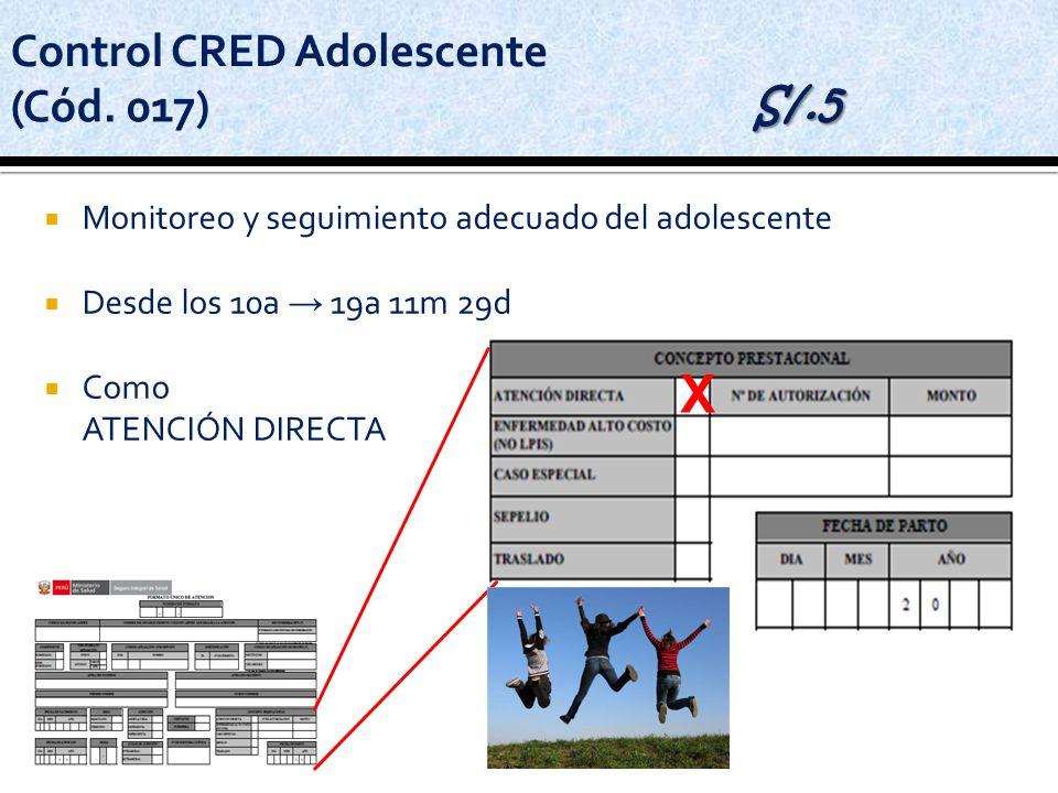 Monitoreo y seguimiento adecuado del adolescente Desde los 10a 19a 11m 29d Como ATENCIÓN DIRECTA X