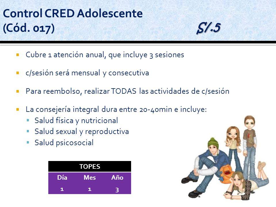 Cubre 1 atención anual, que incluye 3 sesiones c/sesión será mensual y consecutiva Para reembolso, realizar TODAS las actividades de c/sesión La conse