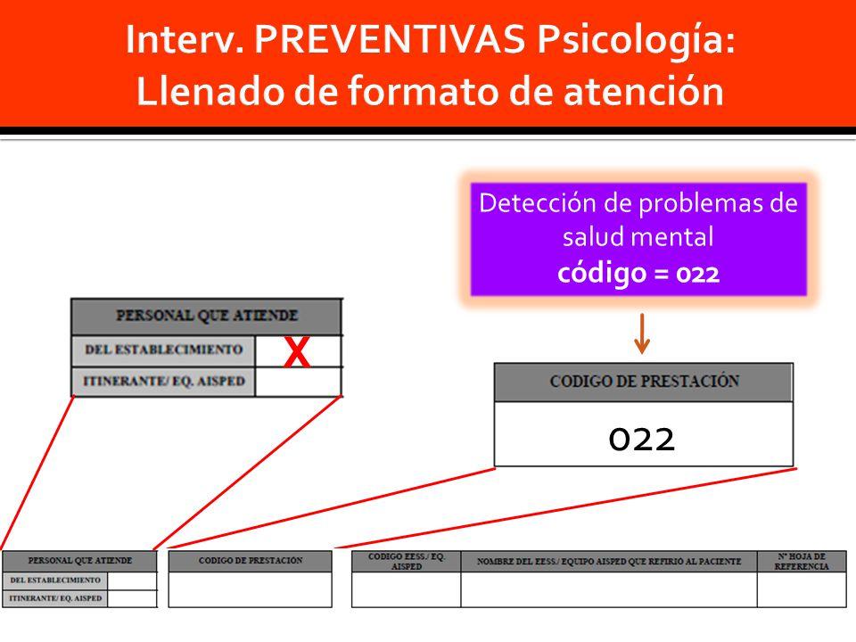 Detección de problemas de salud mental código = 022 022 X
