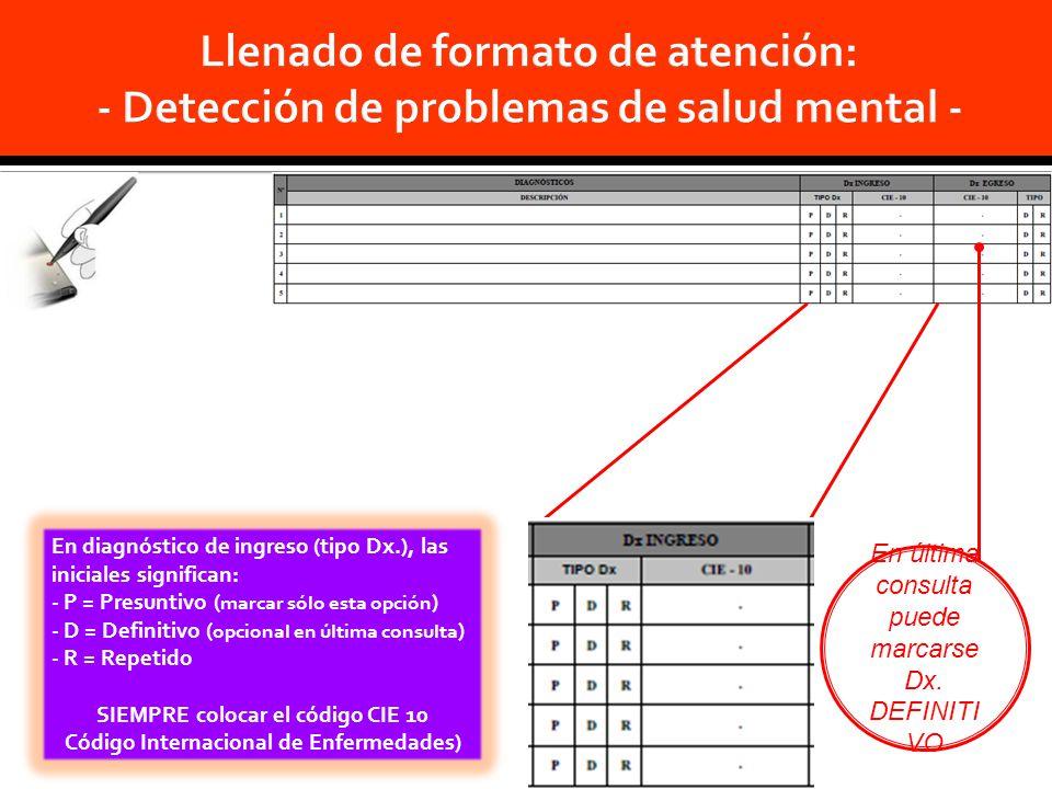En diagnóstico de ingreso (tipo Dx.), las iniciales significan: - P = Presuntivo ( marcar sólo esta opción ) - D = Definitivo ( opcional en última consulta ) - R = Repetido SIEMPRE colocar el código CIE 10 Código Internacional de Enfermedades) En última consulta puede marcarse Dx.