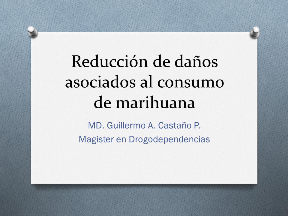 Reducción de daños asociados al consumo de marihuana MD. Guillermo A. Castaño P. Magister en Drogodependencias