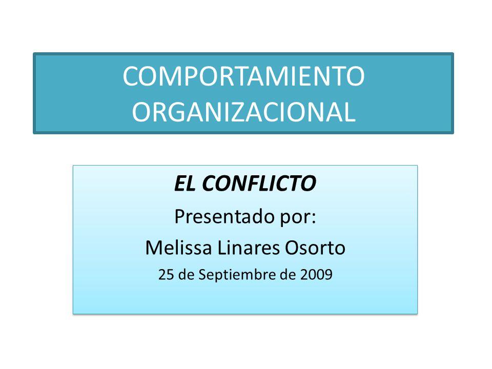 COMPORTAMIENTO ORGANIZACIONAL EL CONFLICTO Presentado por: Melissa Linares Osorto 25 de Septiembre de 2009 EL CONFLICTO Presentado por: Melissa Linare