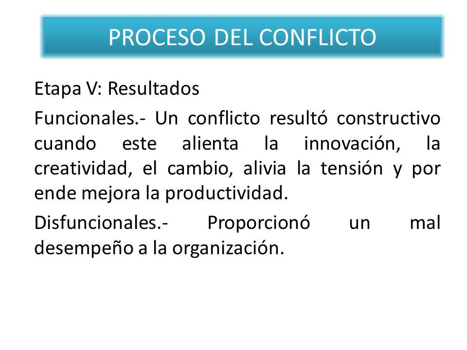 Etapa V: Resultados Funcionales.- Un conflicto resultó constructivo cuando este alienta la innovación, la creatividad, el cambio, alivia la tensión y