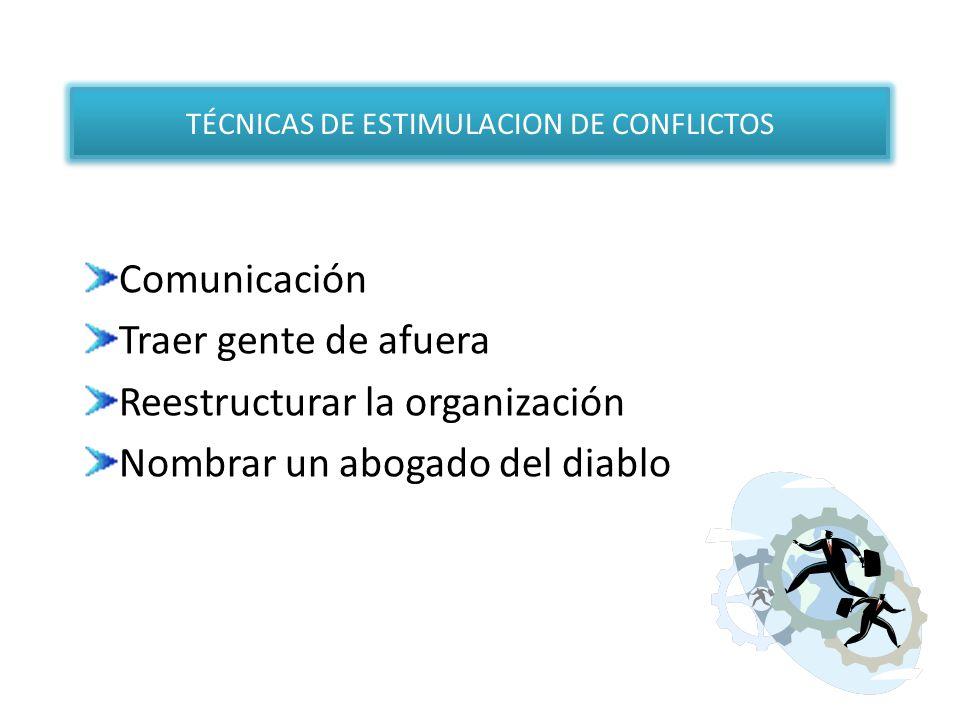Comunicación Traer gente de afuera Reestructurar la organización Nombrar un abogado del diablo TÉCNICAS DE ESTIMULACION DE CONFLICTOS