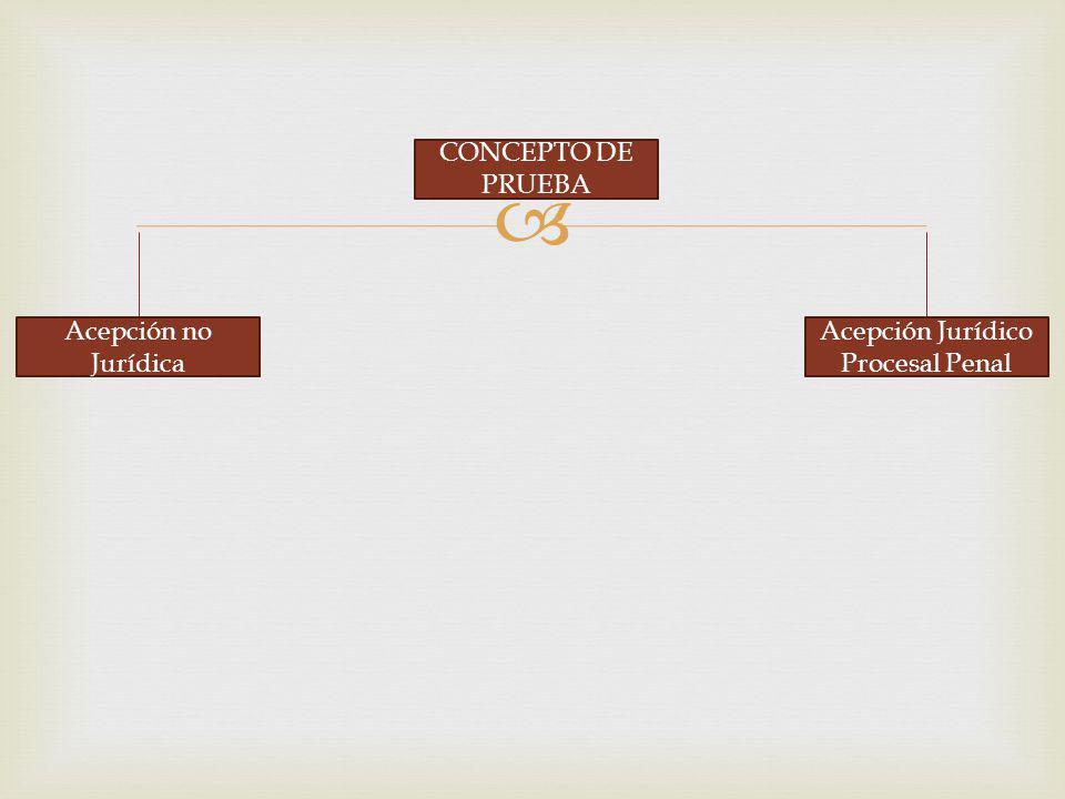 CONCEPTO DE PRUEBA Acepción no Jurídica Acepción Jurídico Procesal Penal