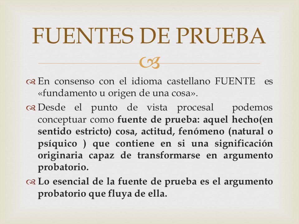En consenso con el idioma castellano FUENTE es «fundamento u origen de una cosa». Desde el punto de vista procesal podemos conceptuar como fuente de p
