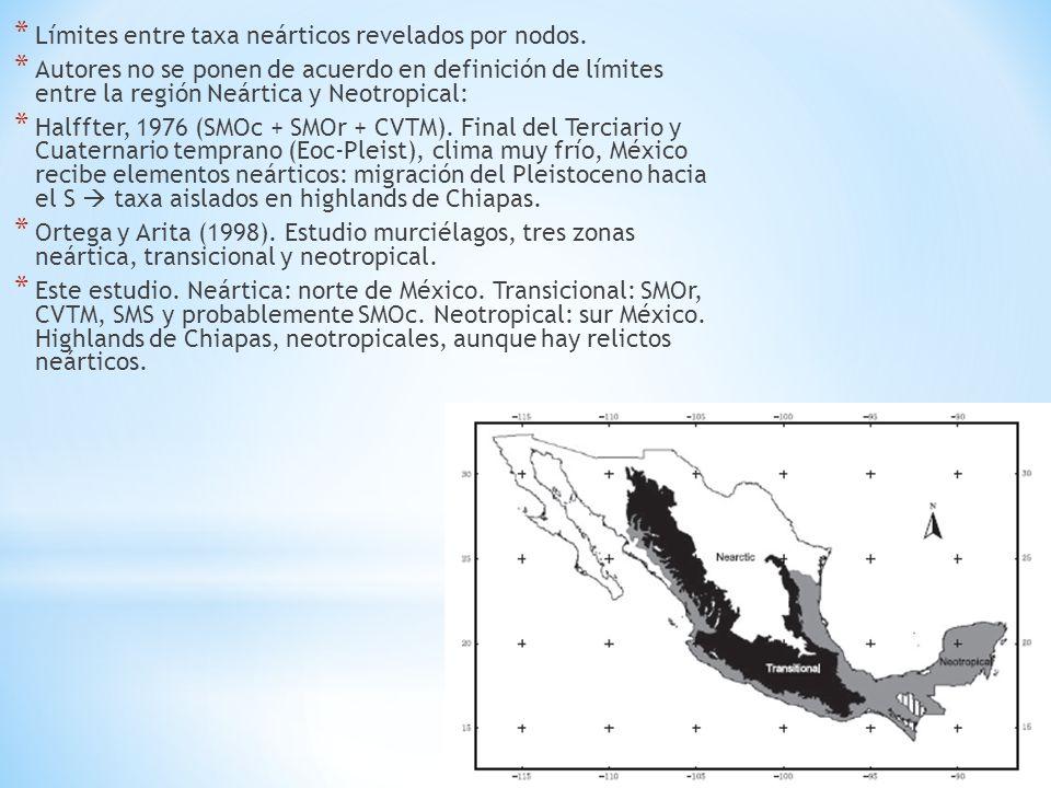 * Límites entre taxa neárticos revelados por nodos. * Autores no se ponen de acuerdo en definición de límites entre la región Neártica y Neotropical: