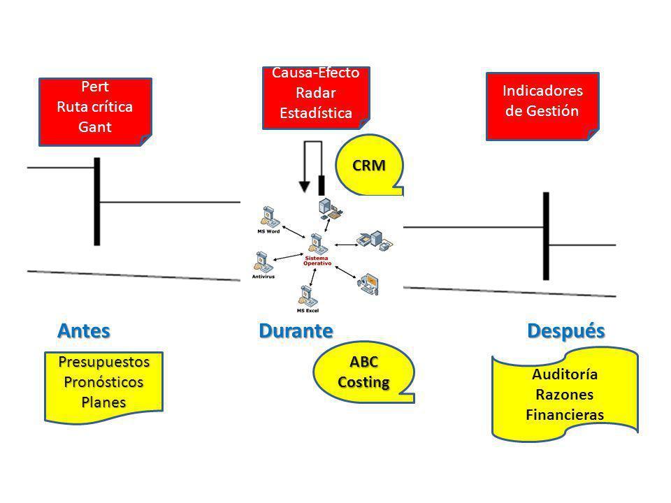 AntesDuranteDespués PresupuestosPronósticosPlanes Pert Ruta crítica Gant Causa-Efecto Radar Estadística Auditoría Razones Financieras Indicadores de G