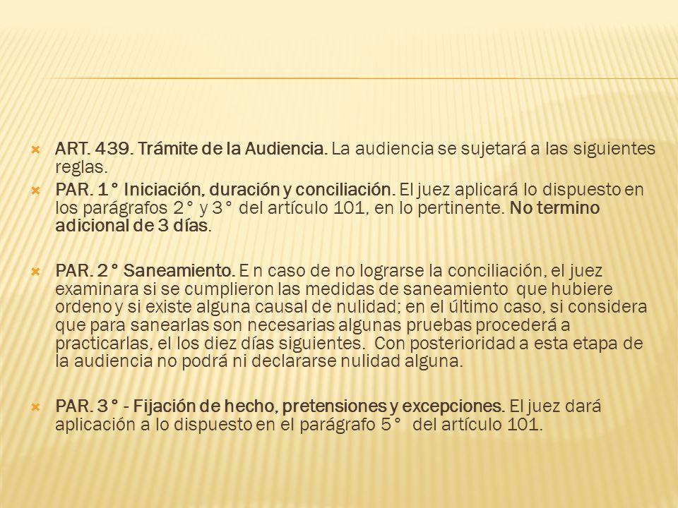 ART. 439. Trámite de la Audiencia. La audiencia se sujetará a las siguientes reglas. PAR. 1° Iniciación, duración y conciliación. El juez aplicará lo