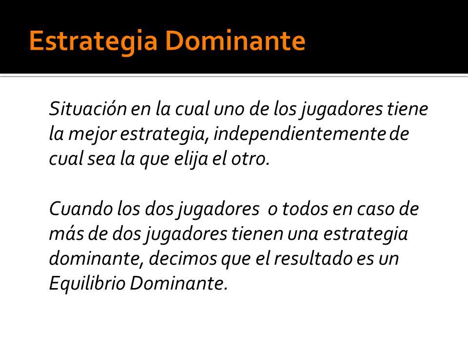 Situación en la cual uno de los jugadores tiene la mejor estrategia, independientemente de cual sea la que elija el otro.