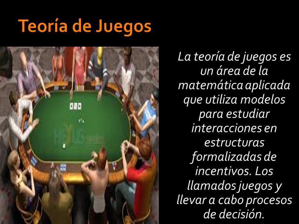 La teoría de juegos es un área de la matemática aplicada que utiliza modelos para estudiar interacciones en estructuras formalizadas de incentivos.
