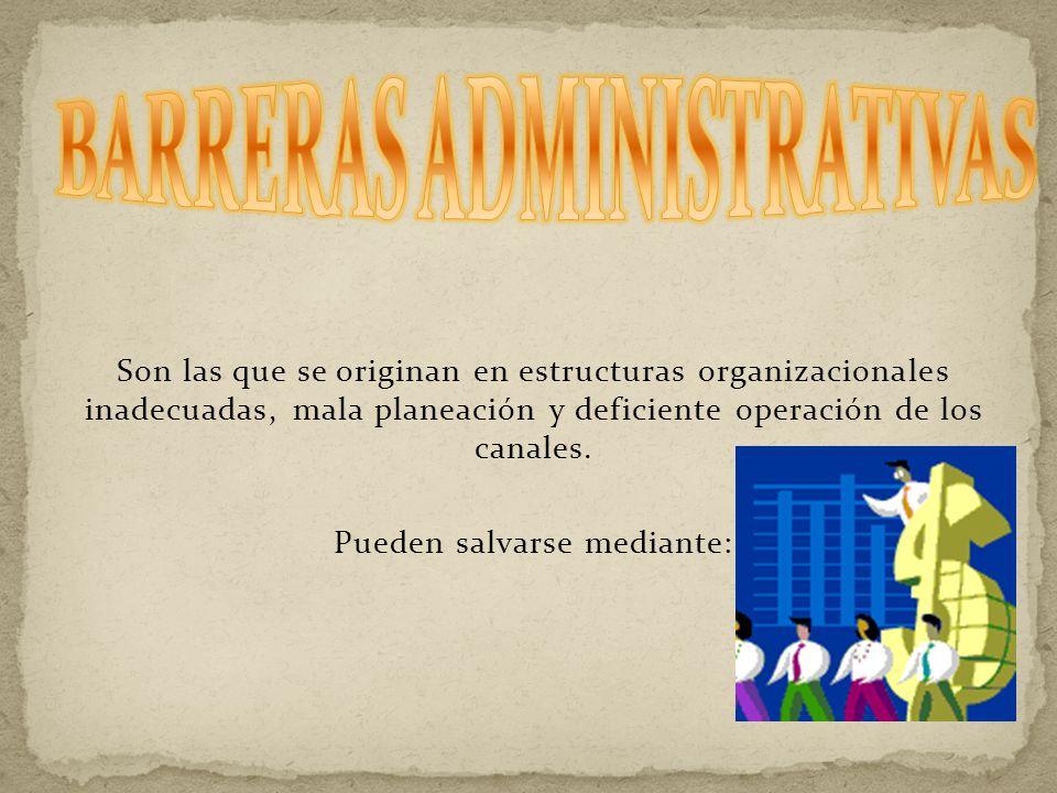 Son las que se originan en estructuras organizacionales inadecuadas, mala planeación y deficiente operación de los canales.