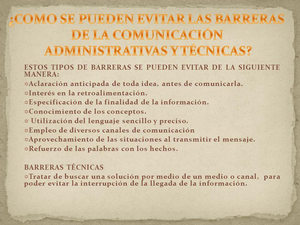 ESTOS TIPOS DE BARRERAS SE PUEDEN EVITAR DE LA SIGUIENTE MANERA: Aclaración anticipada de toda idea, antes de comunicarla.
