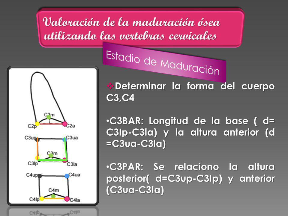 Determinar la forma del cuerpo C3,C4 Determinar la forma del cuerpo C3,C4 C3BAR: Longitud de la base ( d= C3Ip-C3la) y la altura anterior (d =C3ua-C3la) C3BAR: Longitud de la base ( d= C3Ip-C3la) y la altura anterior (d =C3ua-C3la) C3PAR: Se relaciono la altura posterior( d=C3up-C3Ip) y anterior (C3ua-C3Ia) C3PAR: Se relaciono la altura posterior( d=C3up-C3Ip) y anterior (C3ua-C3Ia)