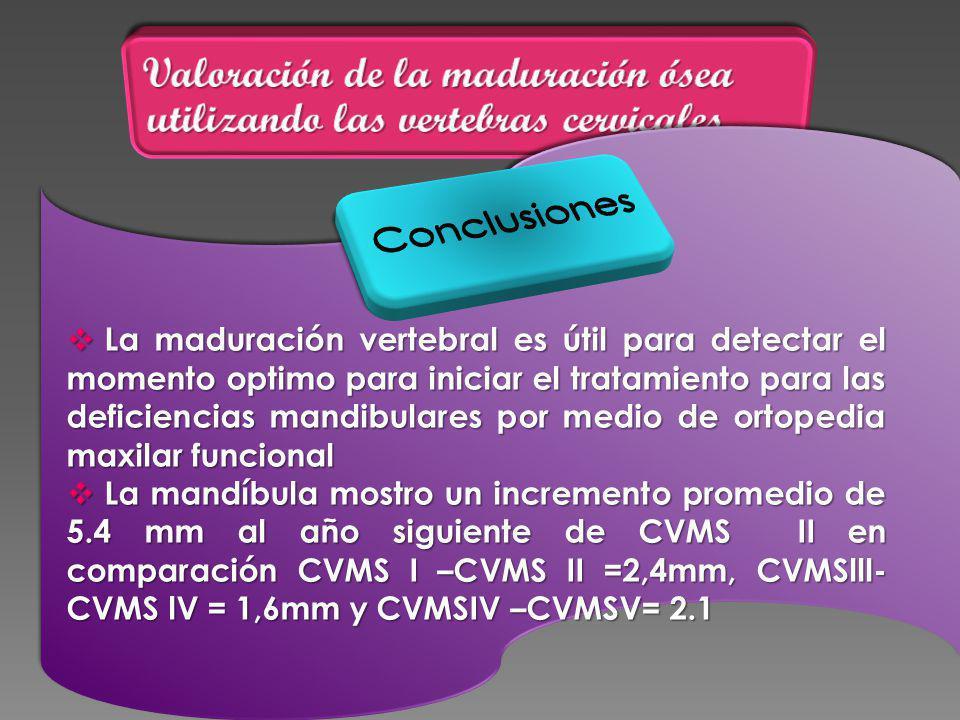 La maduración vertebral es útil para detectar el momento optimo para iniciar el tratamiento para las deficiencias mandibulares por medio de ortopedia maxilar funcional La maduración vertebral es útil para detectar el momento optimo para iniciar el tratamiento para las deficiencias mandibulares por medio de ortopedia maxilar funcional La mandíbula mostro un incremento promedio de 5.4 mm al año siguiente de CVMS II en comparación CVMS I –CVMS II =2,4mm, CVMSlll- CVMS lV = 1,6mm y CVMSIV –CVMSV= 2.1 La mandíbula mostro un incremento promedio de 5.4 mm al año siguiente de CVMS II en comparación CVMS I –CVMS II =2,4mm, CVMSlll- CVMS lV = 1,6mm y CVMSIV –CVMSV= 2.1