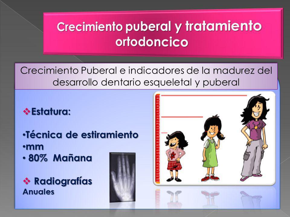Crecimiento Puberal e indicadores de la madurez del desarrollo dentario esqueletal y puberal Estatura: Estatura: Técnica de estiramiento Técnica de estiramiento mm mm 80% Mañana 80% Mañana Radiografías RadiografíasAnuales