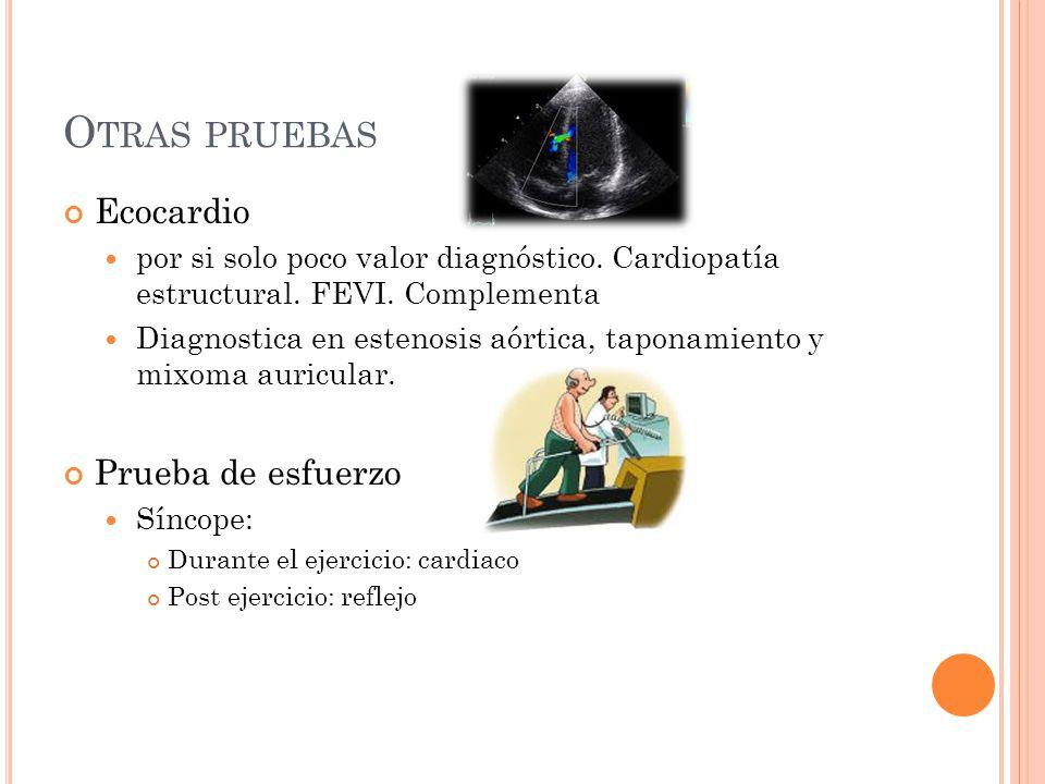 O TRAS PRUEBAS Ecocardio por si solo poco valor diagnóstico. Cardiopatía estructural. FEVI. Complementa Diagnostica en estenosis aórtica, taponamiento