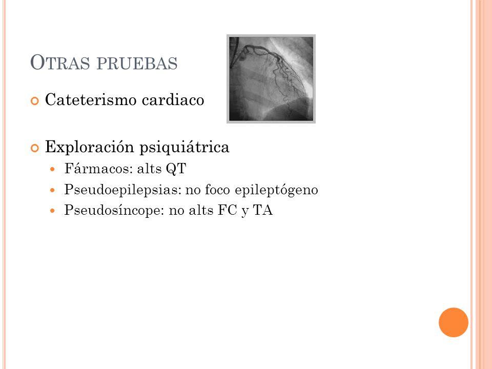 O TRAS PRUEBAS Cateterismo cardiaco Exploración psiquiátrica Fármacos: alts QT Pseudoepilepsias: no foco epileptógeno Pseudosíncope: no alts FC y TA