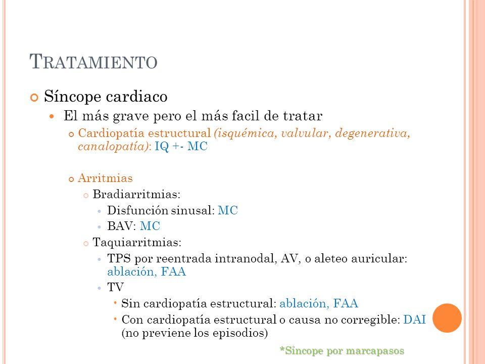 T RATAMIENTO Síncope cardiaco El más grave pero el más facil de tratar Cardiopatía estructural (isquémica, valvular, degenerativa, canalopatía) : IQ +
