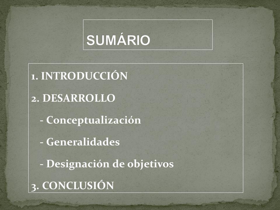 1. INTRODUCCIÓN 2. DESARROLLO - Conceptualización - Generalidades - Designación de objetivos 3. CONCLUSIÓN