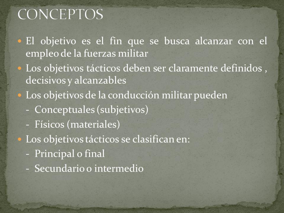 Los objetivos deben ser considerados en un número minino porque disminuyen la velocidad en el ataque, restringen la maniobra y causan concentración de tropas.