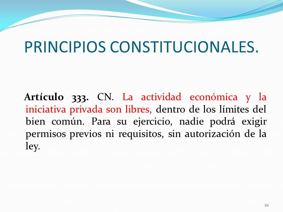 PRINCIPIOS CONSTITUCIONALES.Artículo 333. CN.