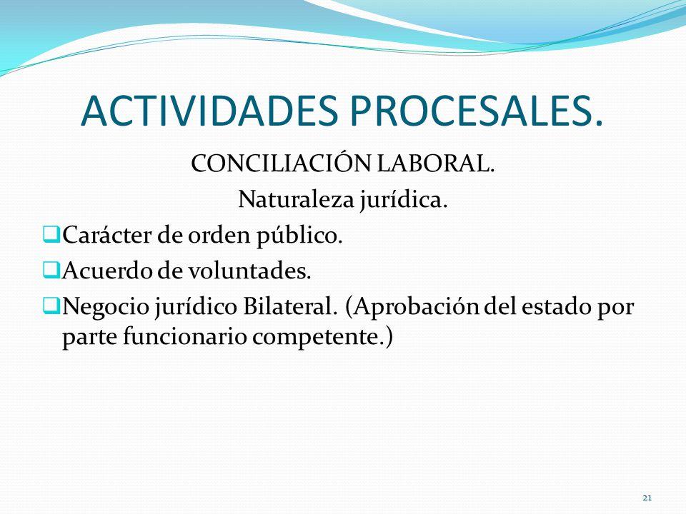 ACTIVIDADES PROCESALES.CONCILIACIÓN LABORAL. Naturaleza jurídica.