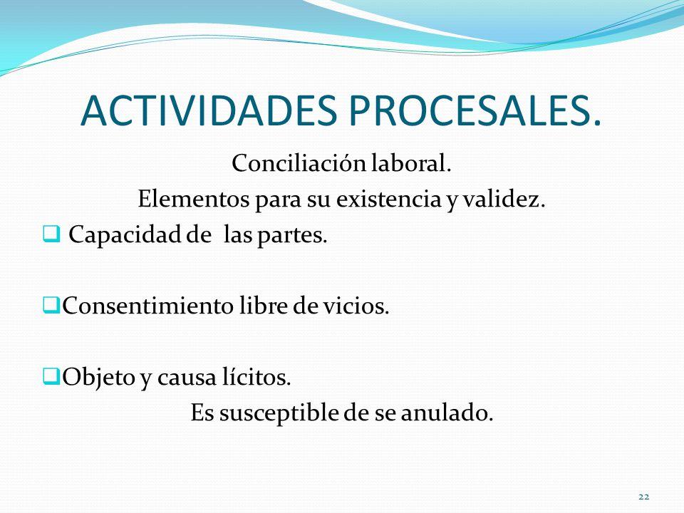 ACTIVIDADES PROCESALES.Conciliación laboral. Elementos para su existencia y validez.