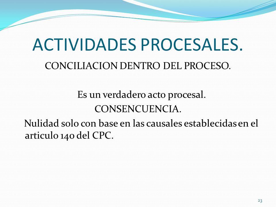 ACTIVIDADES PROCESALES.CONCILIACION DENTRO DEL PROCESO.